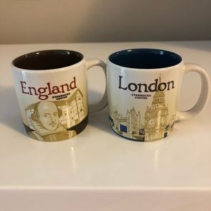 London England Starbucks 3 oz Coffee Icon Mugs Set